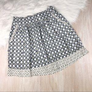 Loft Window Pane Pattern Pocket Linen Blend Skirt